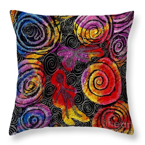 Abstract Throw Pillow featuring the drawing Floating by Sarah Loft