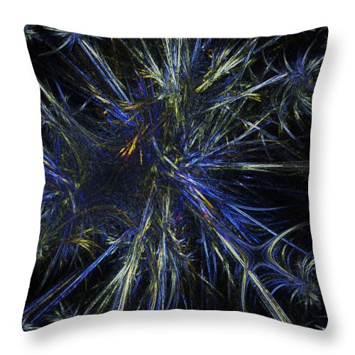 Blue Throw Pillow featuring the digital art Floating Seeds by Andrea Lawrence