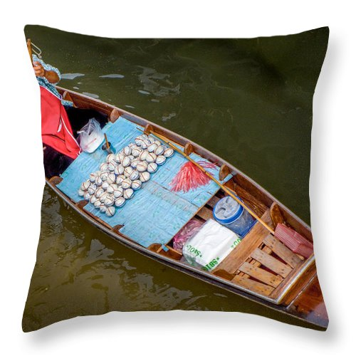 Thai Woman Throw Pillow featuring the photograph Floating To Work by Douglas J Fisher