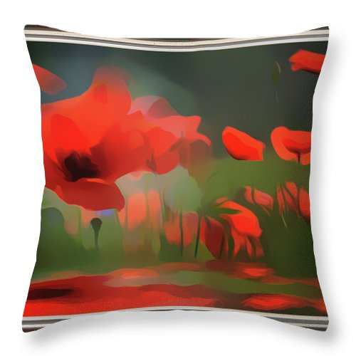 Red Throw Pillow featuring the mixed media Floating Wild Red Poppies by Clive Littin
