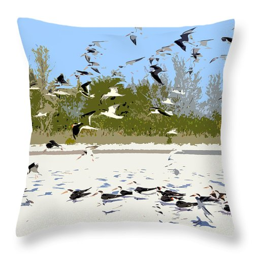 Seagulls Throw Pillow featuring the painting Flock Of Seagulls by David Lee Thompson