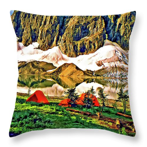 Canadian Rockies Throw Pillow featuring the photograph Floe Lake Painted by Steve Harrington