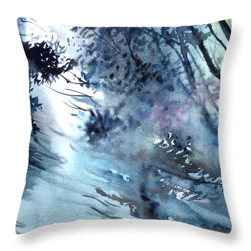 Floods Throw Pillow featuring the painting Flooding by Anil Nene