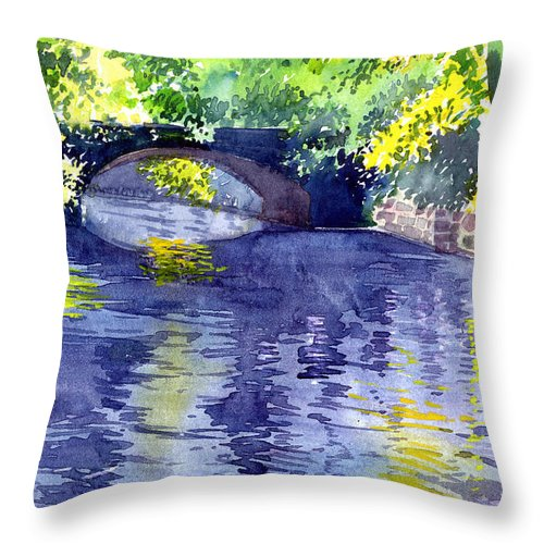 Nature Throw Pillow featuring the painting Floods by Anil Nene