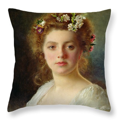 Female; Portrait; Flowers; Flower; Garland; Decollete; Beauty; Young; Rural; Tess; Hair; Regard; Staring; Woman; Gustave Jacquet Throw Pillow featuring the painting Flora by Gustave Jacquet