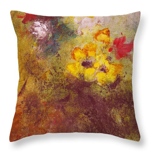 Botanical Throw Pillow featuring the painting Flora II by Ruth Palmer
