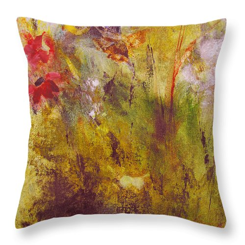 Botanical Throw Pillow featuring the painting Flora by Ruth Palmer