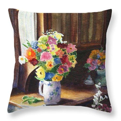 Flowers Throw Pillow featuring the painting Floral Arrangements by Karen Fleschler