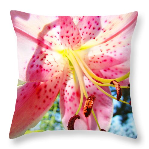 Lilies Throw Pillow featuring the photograph Floral Art Print Pink Summer Lily Flower Lilies Baslee Troutman by Baslee Troutman