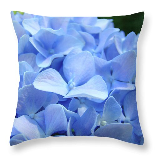 Hydrangea Throw Pillow featuring the photograph Floral Artwork Blue Hydrangea Flowers Baslee Troutman by Baslee Troutman