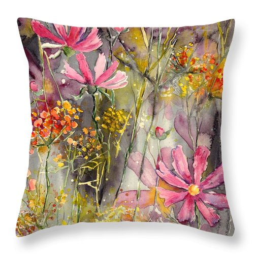 Pink Throw Pillow featuring the painting Floral Cosmos by Suzann Sines