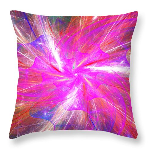 Fine Art Throw Pillow featuring the digital art Floral Explosion by David Lane