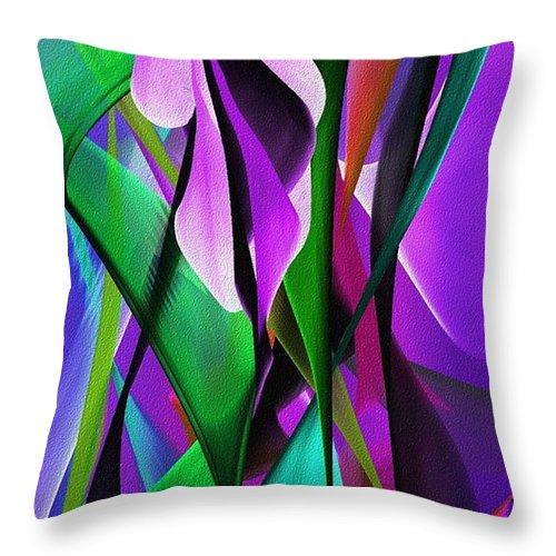 Floral Throw Pillow featuring the digital art Floral expression 06291 by David Lane