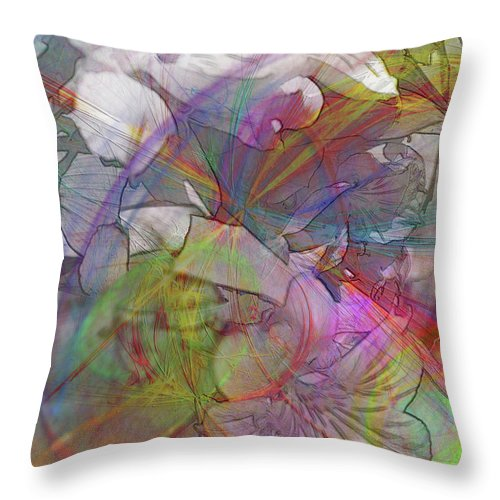Floral Fantasy Throw Pillow featuring the digital art Floral Fantasy by John Beck