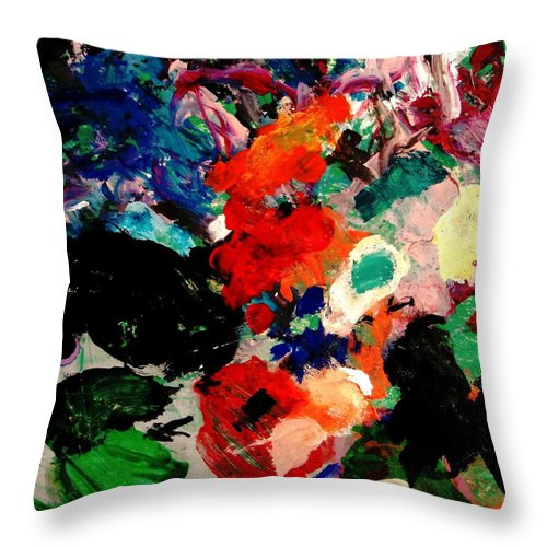 Abstract Throw Pillow featuring the painting Floral Garden by Natalie Holland