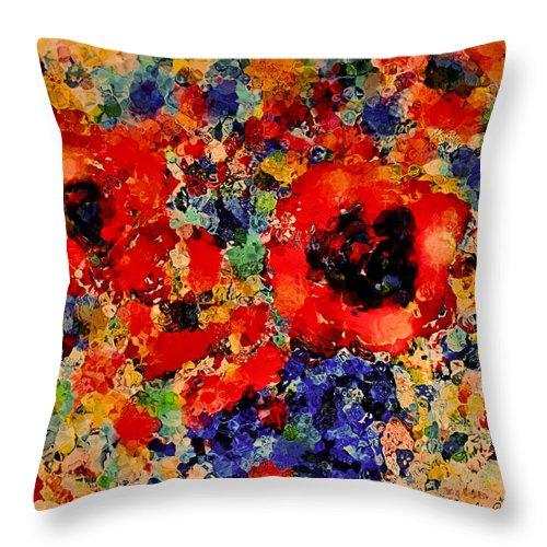 Red Flowers Throw Pillow featuring the mixed media Floral Happiness by Natalie Holland