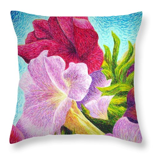 Floral Throw Pillow featuring the painting Floral In Pinks by Lisa Bliss Rush