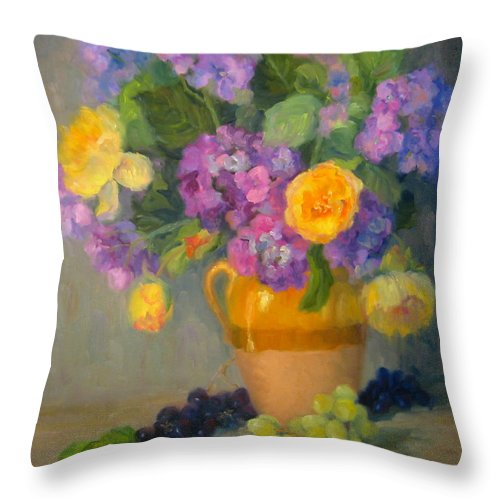 Still Life Throw Pillow featuring the painting Floral Melody by Bunny Oliver