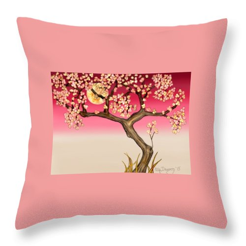 Cherry Blossom Tree Throw Pillow featuring the digital art Floral Moon by Ellen Dawson