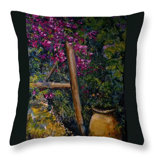 Bouganvilla Throw Pillow featuring the painting Floral Peace by Lizzy Forrester