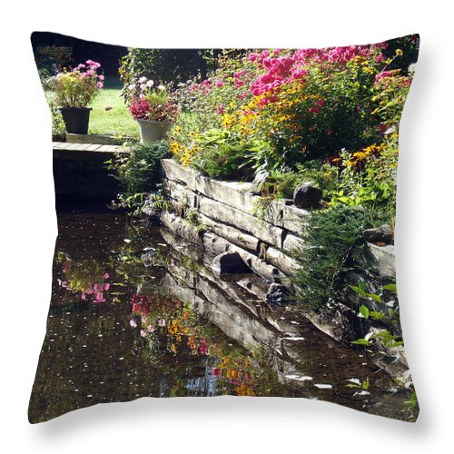 Zoomlavie Throw Pillow featuring the photograph Floral Profusion by Angel Vallee