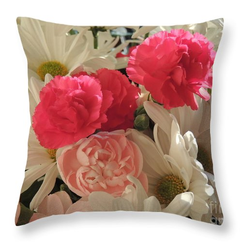 White Daisies Throw Pillow featuring the photograph Floral Smiles by Traci Hallstrom