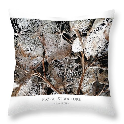 Hydranga Throw Pillow featuring the digital art Floral Structure by Julian Perry
