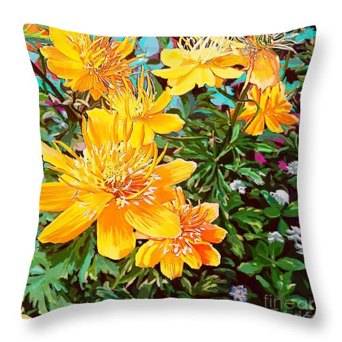 Yellow Throw Pillow featuring the painting Floral Summer by Karen Harding
