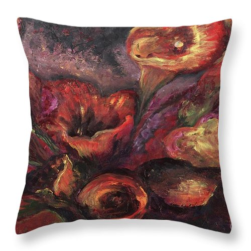 Calla Lilies Throw Pillow featuring the painting Floral Sun Worship by Nadine Rippelmeyer