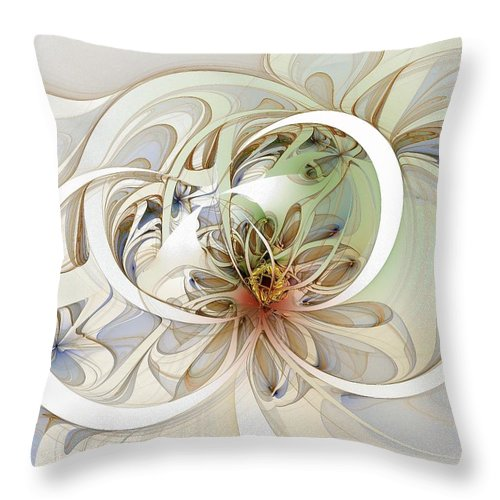 Digital Art Throw Pillow featuring the digital art Floral Swirls by Amanda Moore