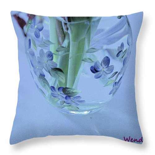 Vase Throw Pillow featuring the photograph Floral Vase by Wendy Fox