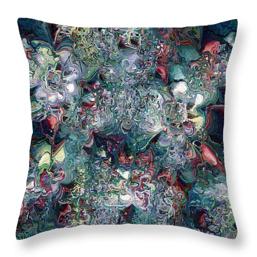 Abstract Throw Pillow featuring the digital art Floralia by Charmaine Zoe