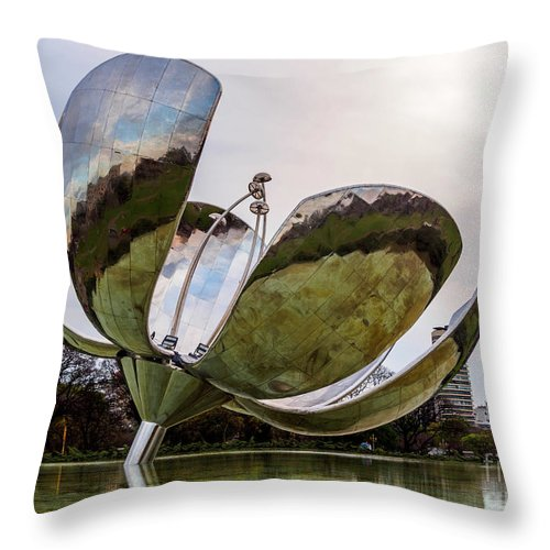 Argentina Throw Pillow featuring the photograph Floralis Generica, Buenos Aires, Argentina by Karol Kozlowski