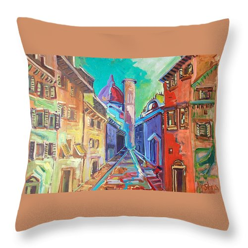 City Throw Pillow featuring the painting Florence by Kurt Hausmann