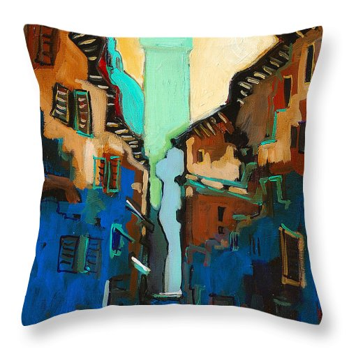 Florence Throw Pillow featuring the painting Florence Street Study by Kurt Hausmann
