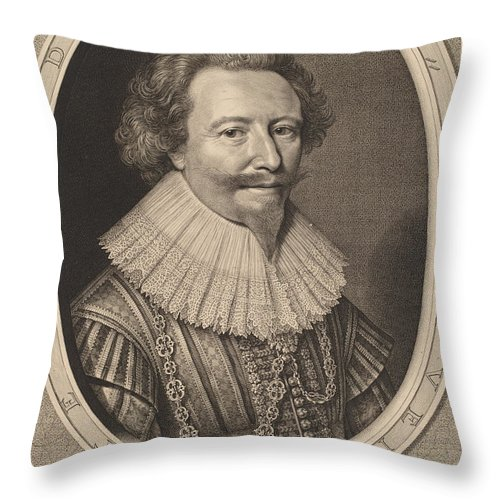 Throw Pillow featuring the drawing Florent II, Count Of Pallandt by Willem Jacobsz Delff After Michiel Van Miereveld