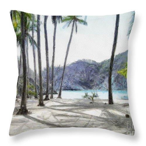Landscape Throw Pillow featuring the painting Florida beach by Murphy Elliott