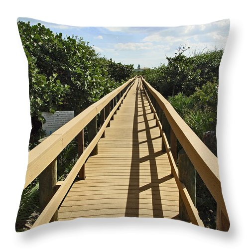 Sand Throw Pillow featuring the photograph Florida Dune Walk by Allan Hughes