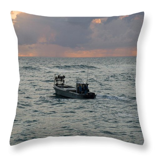 Florida; Lobster; Lobstermen; Lobsterman; Boat; Trap; Catch; Haul; Traps; Sebastian; Inlet; Atlantic Throw Pillow featuring the photograph Florida Lobstermen At Dawn by Allan Hughes