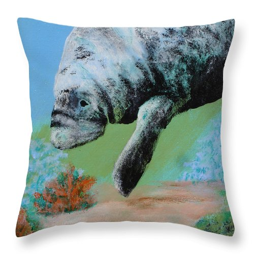 Florida Throw Pillow featuring the painting Florida Manatee by Susan Kubes