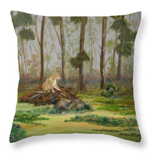 Florida Throw Pillow featuring the painting Florida Panther by Susan Kubes