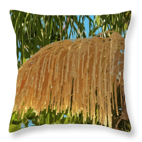 Florida Throw Pillow featuring the painting Florida Queen Palm Flower by Allan Hughes