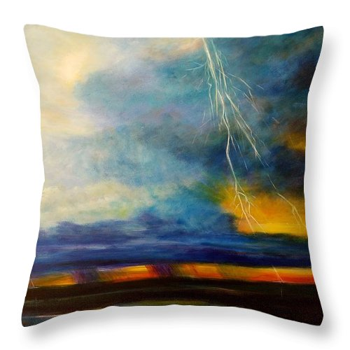Blue With Deep Purple Throw Pillow featuring the painting Florida Seascape by Larry Palmer