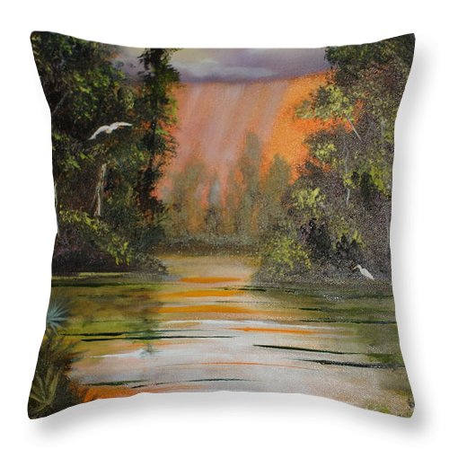 Landscape Throw Pillow featuring the painting Florida Thunderstorm by Susan Kubes