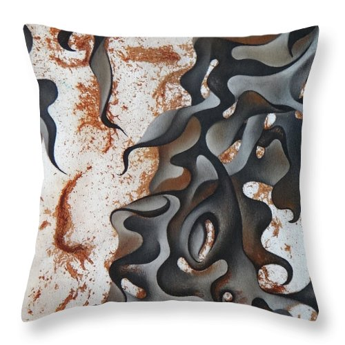 Rust Throw Pillow featuring the drawing Flow by Heather Crowther