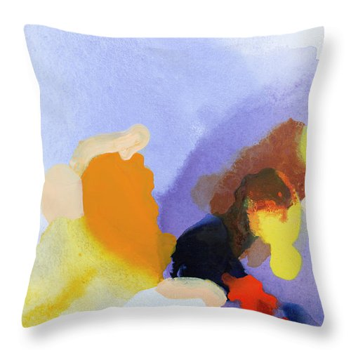 Abstract Throw Pillow featuring the painting Flow Release by Claire Desjardins