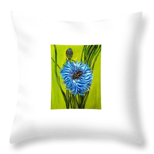 Flower Throw Pillow featuring the painting Flower And Bee Oil Painting by Natalja Picugina