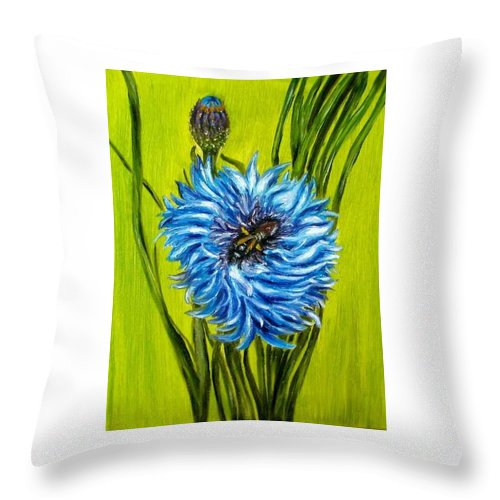 Floral Throw Pillow featuring the painting Flower and Bee oil painting by Natalja Picugina