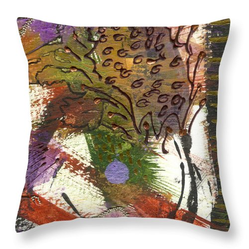 Purple Throw Pillow featuring the mixed media Flower And Leaves II by Angela L Walker