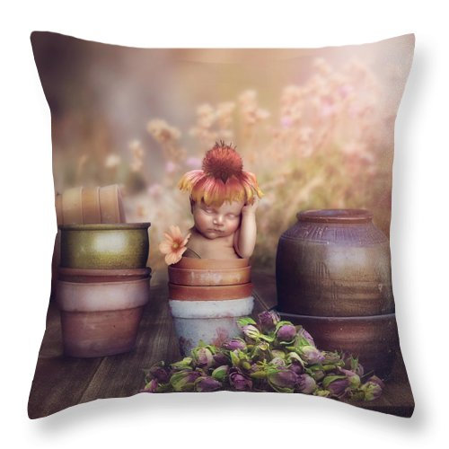 Flowers Throw Pillow featuring the photograph Flower Baby by Cindy Grundsten